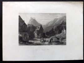 Wright C1850 Antique Print. Valley near Oberwesel - Rhine, Germany